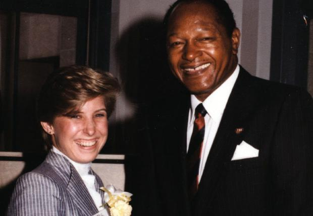 Former Los Angeles Mayor Tom Bradley presents Wendy Greuel, a recent graduate of Kennedy High School in Granada Hills, with a Youth Leadership Award in 1980. This photo appears on a Greuel for Mayor 2013 campaign advertisement.