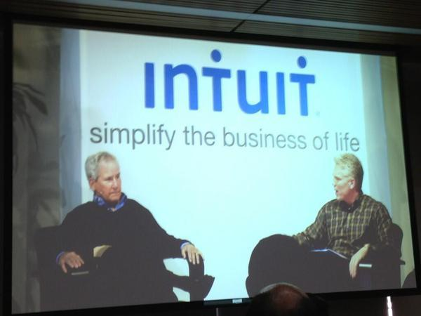 Intuit chair Bill Campbell, left, and Chief Executive Brad Smith discuss the company's approach to design and innovation.