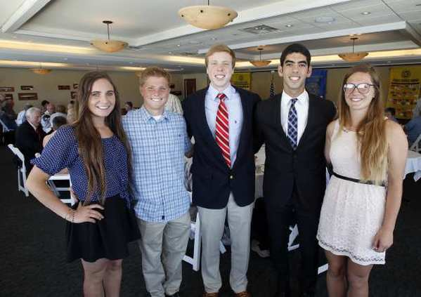 Five of the Newport Harbor Exchange Club Youth of the Year Scholarship winners, from left: Ilene Umansky of Estancia, Matt Thomas of Estancia; Michael Cantwell of Newport Harbor; Ryon Sabouni of Corona del Mar and Katie Groke of Corona del Mar, during an awards luncheon at the Bahia Corinthian Yacht Club on Thursday.
