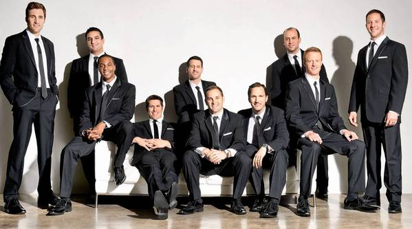 A cappella group Straight No Chaser, with Allentown native Jerome Collins (third from left) and Easton High School grad Walter Chase (middle, rear), returns to Allentown fMay 12 for a concert at Miller Symphony Hall.