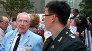 The president of South Korea thanked a group of local Korean War veterans for helping set the cornerstone of a 60-year partnership between her country and the United States during a dinner Tuesday in Washington, D.C.
