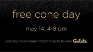 Free cone at  Häagen-Dazs on May 14