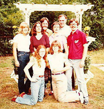 Rosemary Bacon, second row, second from right, stands among her family, including Chris Copley, far right, at a family gathering in 1979.