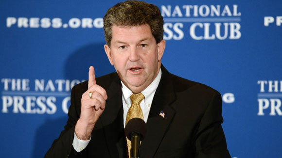 Postmaster General Patrick Donahoe addresses the National Press Club last month in Washington.