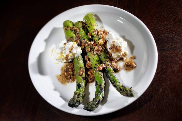 Delta asparagus with ricotta at Cook's County.