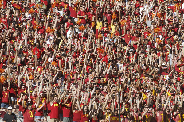 USC fans cheer at the game against Hawaii at the Los Angeles Memorial Coliseum last year.