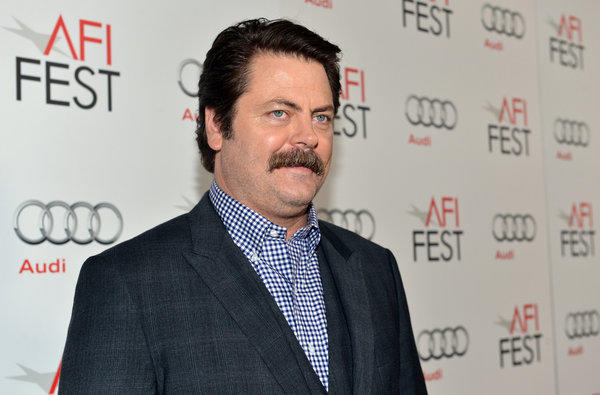 "Nick Offerman lends his deadpan reading of celebrity tweets to ""Conan."""