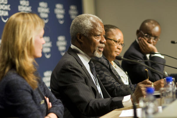 Head of the Africa Progress Panel and former U.N. Secretary-General Kofi Annan, second from the left, speaks during a news conference at the World Economic Forum Meeting on Africa in Cape Town.