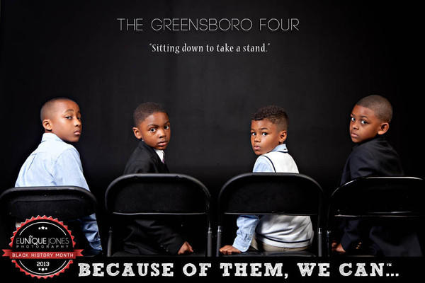 "A photo from the ""Because of Them, We Can"" campaign by photographer and motivational speaker Eunique Jones. This photo reflects the legacy of four young men who sat down at a whites-only Woolworth's lunch counter in 1960 and refused to leave."
