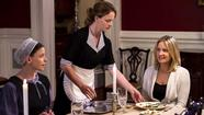 "Julia Whelan, left, Katie Leclerc and Sherry Stringfield in ""The Confession"" on the Hallmark Channel."