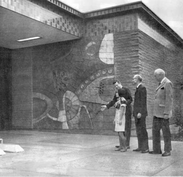 ARCHIVE PHOTO: Librarian Kathryn Ginoza, from left, L.A. County Supervisor Warren Dorn, County Librarian William Geller and John L. Clarke are at the June 16, 1971 opening of the new La Canada Library on Oakwood Avenue. The library will celebrate its centennial anniversary on Saturday.