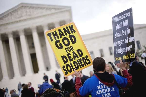 Supporters of Westboro Baptist Church protest outside the Supreme Court in 2010.