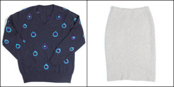 The Elder Statesman's Fall/Winter 2013 collection includes a men's V-neck sweater with an intarsia pattern inspired by a peacock feather, a design by Audrey Louise Reynolds (at left, TES X ALR, $1,257) and a women's felted cashmere pencil skirt with a woven honeycomb pattern (at right, $693).