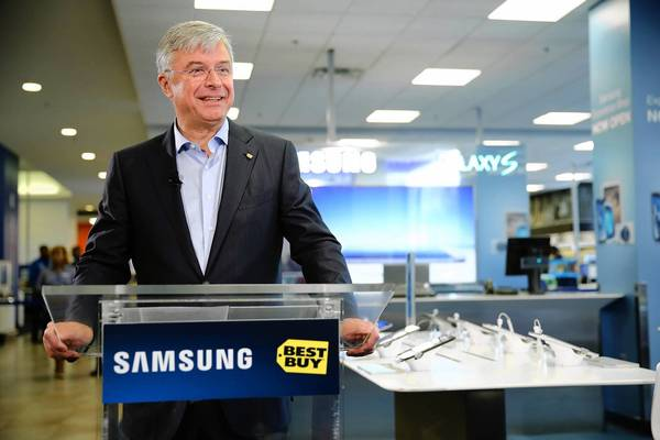 In August, Best Buy brought in its third chief executive in six months, French turnaround artist Hubert Joly. Above, Joly celebrates the opening of the Samsung Experience Shop at a Best Buy in New York in April
