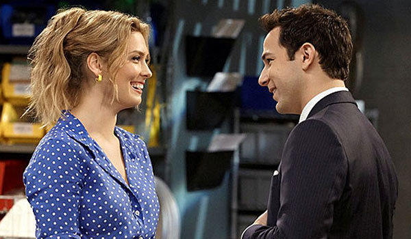 "Briga Heelan and Skylar Astin star in ""Ground Floor."""