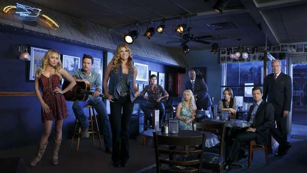 """Nashville's"" Hayden Panettiere, left, Charles Esten, Connie Britton, Sam Palladio, Clare Bowen, Robert Wisdom, Jonathan Jackson, Eric Close, Powers Boothe."