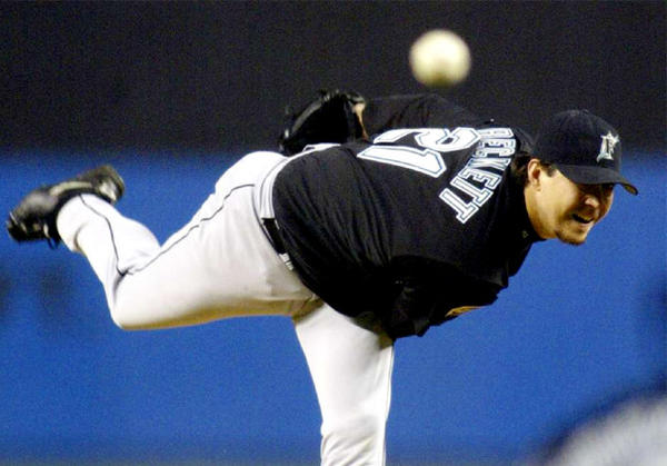 Josh Beckett, as a member of the then-Florida Marlins, pitched against the New York Yankees during Game 6 of the 2003 World Series.