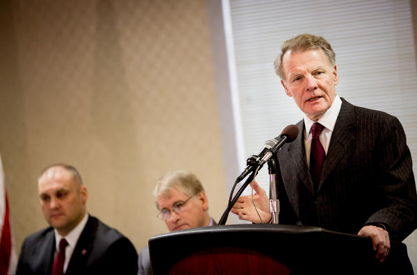 Speaker of the House, Michael Madigan addresses the International Brotherhood of Electrical Workers' spring conference Wednesday at the Hilton Hotel in Springfield, Ill.