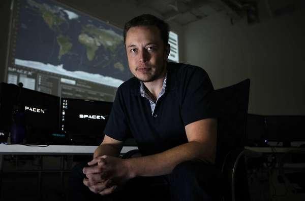 Elon Musk in the mission control room of SpaceX