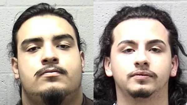 Booking photos of Reggie Cortez, left, and Adan Sandoval