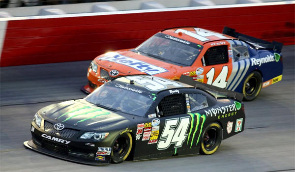 Kyle Busch took the checkered flag in the No. 54 car at the Nationwide race at the Darlington Raceway on Friday.