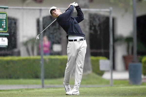 St. Francis' Vince De Pinto swings at the ball during a match, which took place at Brookside Golf Course in Pasadena on Wednesday, April 24, 2013.