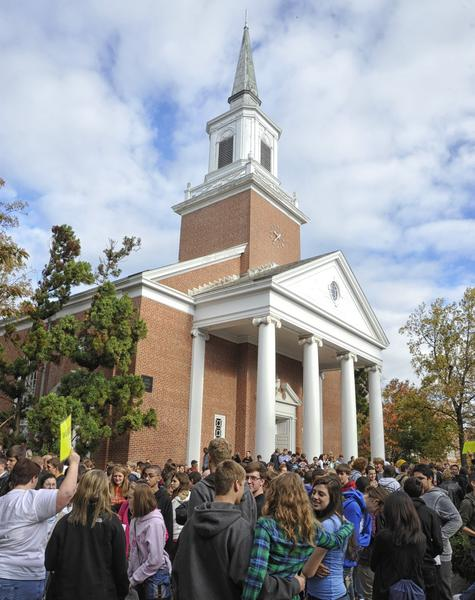 Students gather in front of Big Baker Chapel at McDaniel College.