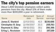 As Glendale struggles to get a handle on its growing pension obligations, records show that about 11% of the nearly 1,350 city retirees draw annual pensions of more than $100,000 a year — and some of them far more than that.