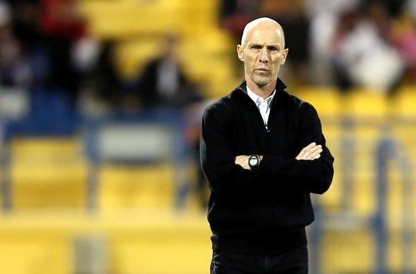 Egypt Coach Bob Bradley watches his players during an exhibition against Qatar in Doha earlier this year.