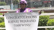 California's leading jockey, Rafael Bejarano, achieved a milestone Saturday at Betfair Hollywood Park, riding to his 3,000th career victory in the first race aboard Ondine, a 3-year-old filly trained by Bob Baffert.