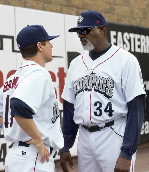 Lehigh Valley IronPigs pitching coach Ray Burris (right) talks to pitcher Bobby Bramhall (left) before the team took on the Louisville Bats at Coca Cola Stadium on Tuesday, May 8, 2013.