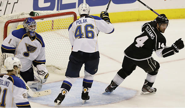 Justin Williams, shown after scoring in Game 4 against St. Louis, is still looking for improvement from himself and the rest of the Kings after a first-round playoff win over the Blues.