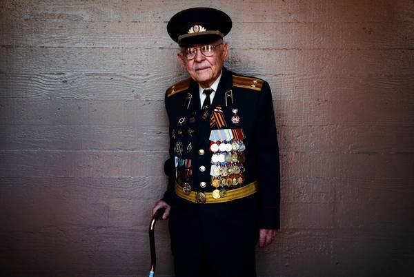 Yefim Stolyarskiy, 90, wore his heavily decorated Soviet Army uniform proudly at the celebration of the 68th anniversary of Victory Day.