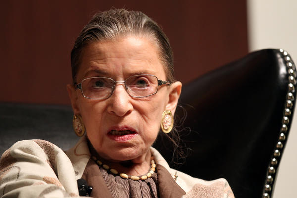 U.S. Supreme Court Justice Ruth Bader Ginsburg discusses abortion laws and the Roe V. Wade decision at the University of Chicago Law School auditorium.