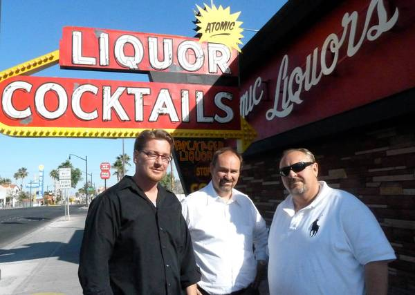 "Derek Stonebarger, from left, and brothers Lance and Kent Johns are the new owners of Atomic Liquors in Las Vegas. The liquor store and bar once capitalized on the era of ""atomic tourism."""