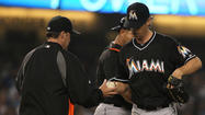 <strong>LOS ANGELES</strong> Kevin Slowey in spite of averaging 7.3 strikeouts per nine innings through his first seven outings for the Marlins has said he's not a strikeout pitcher. That point was clear Saturday.