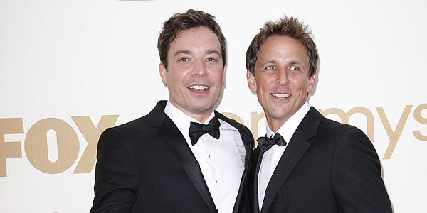 Jimmy Fallon and Seth Meyers at the 63rd Prime Time Emmy Awards Show.