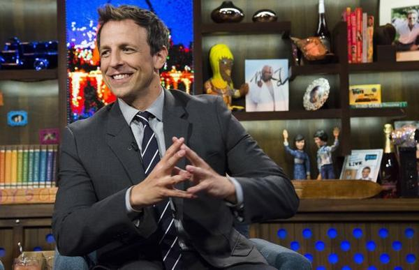 "Seth Meyers, seen here in ""Watch What Happens Live,"" will become host of ""Late Night."""