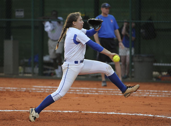 Cypress Bay pitcher Sarah Maloney against West Orange in state semifinal.