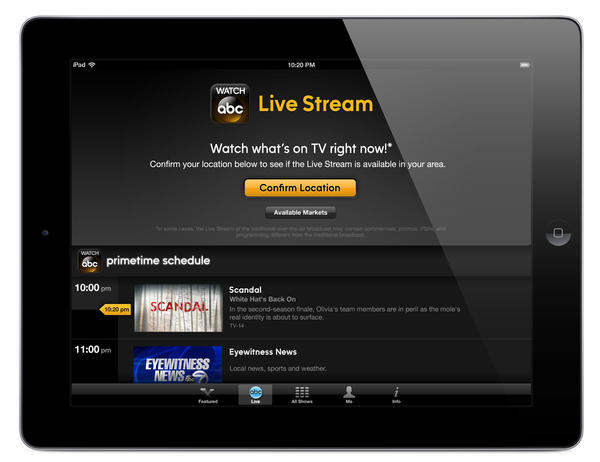 ABC's Watch ABC app will let people view a linear feed of the network online.