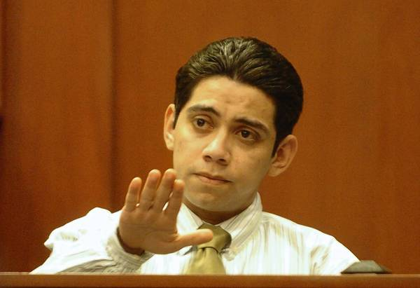"Clemente Javier ""Shorty"" Aguirre testifying at his Sanford trial in 2006."