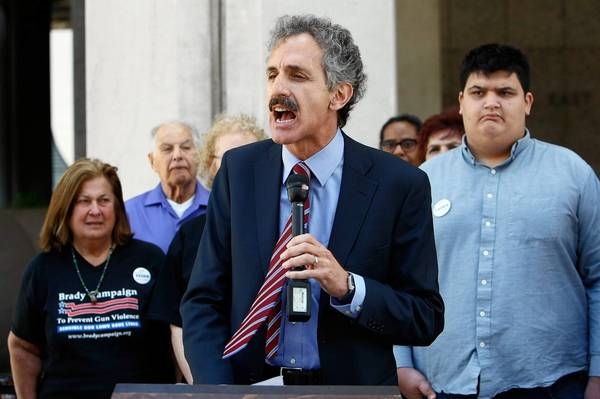 City attorney candidate Mike Feuer at news conference in downtown Los Angeles.
