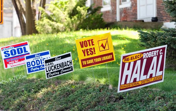 Campaign signs are spread throughout the borough of Coplay, where 10 candidates are vying for four council seats and the mayor's office in the upcoming election.