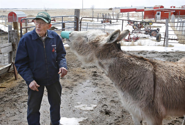 Leo Haar talks about Bunny the donkey as she enjoys a cup of soda on the Haar farm north of Aberdeen.