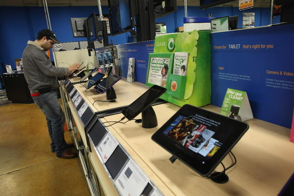 Tablet computers are offered for sale at a Tiger Direct store in Chicago.