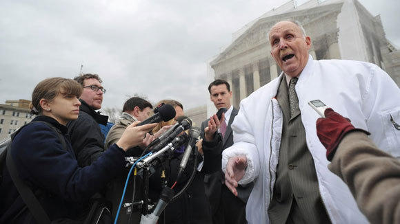 Indiana grain farmer Vernon Bowman speaks to reporters outside the U.S. Supreme Court in February.