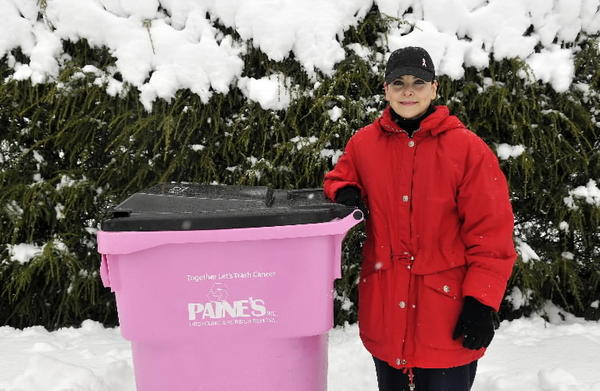 Maria Speranza of Wethersfield received a pink trash barrel from Paine's Recycling and Rubbish Removal this winter.