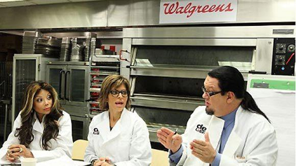 "LaToya Jackson, Lisa Rinna and Penn Jillette work on developing an ice cream flavor for Walgreens' ""Delish"" line during the final challenge on ""Celebrity Apprentice."""