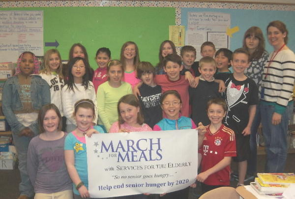 Mrs. Fink's class at West District Elementary School raised more money in found change than any other elementary school in Farmington- $176.50- to donate to Meals on Wheels, a program of Farmington Services for the Elderly. Town-wide, elementary school students gave $3,360 to Meals on Wheels program, which brings nutritious, balanced meals and a friendly hello to homebound clients. Farmington Services for the Elderly's volunteers deliver more than 8,000 meals each year.