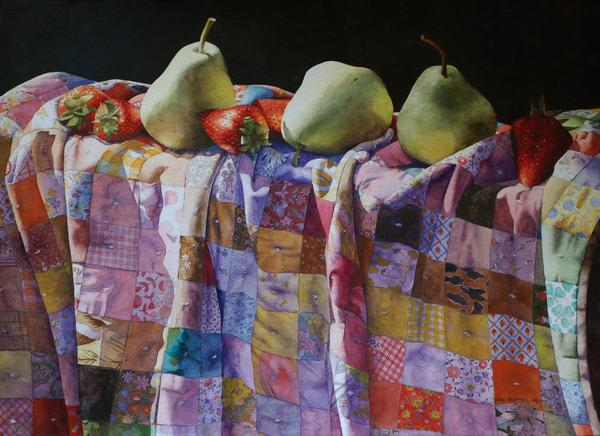 """""""Pears and Strawberries on a Quilt,"""" by Fairfax artist Chris Krupinski, won the Ralph Smith Memorial Award."""